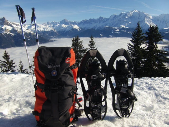 Everything you need for snowshoeing. Snowshoes, walking poles, beautiful views and an International mountain leader with a rucksack.